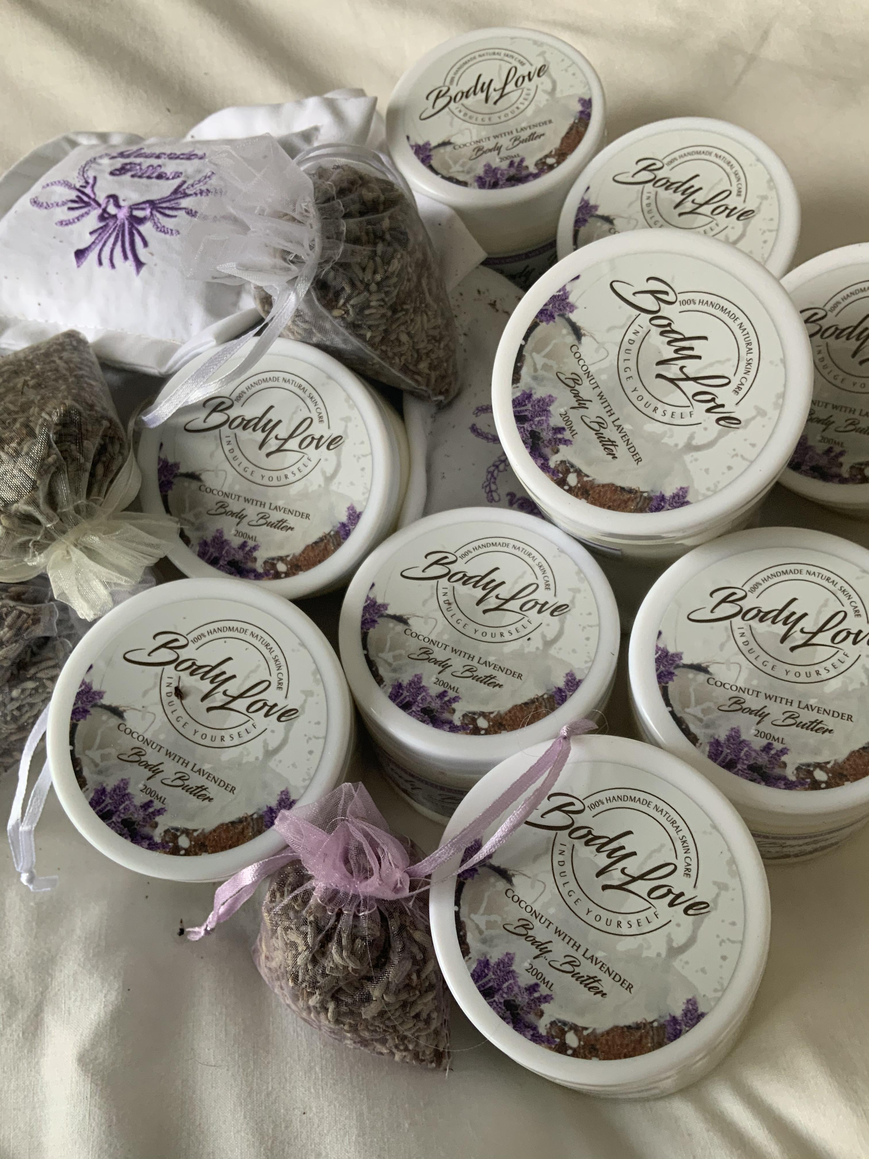 Body Butters, Lavender being most popular as it aids sleep and beneficial for Psoriasis & Eczema