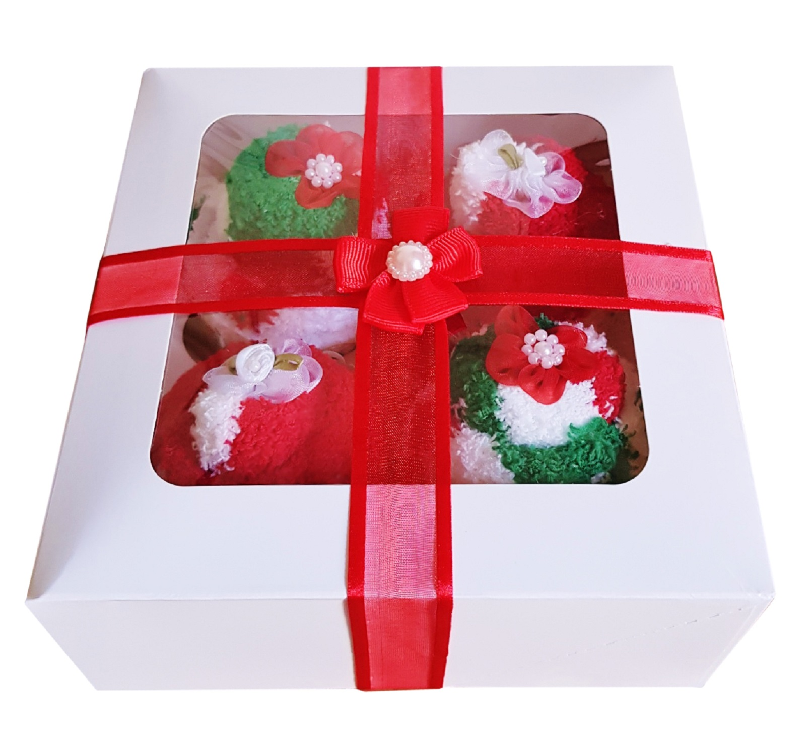 Women's ' Christmas Cozy Sock' Cupcakes, Red Ribbon Gift Box