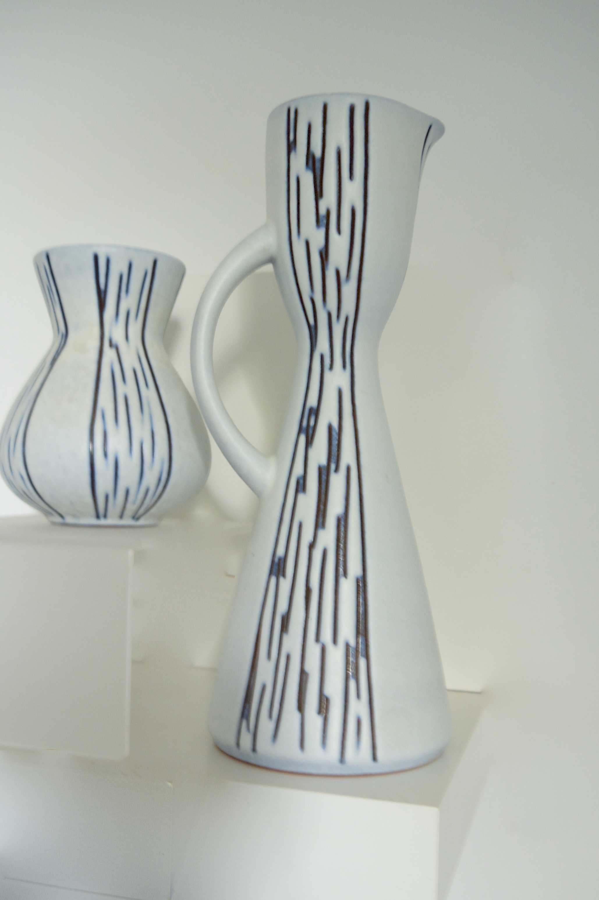 West German Steuler Pitcher and Small Vase White Ceramic with Grey-Blue Stripe 1970s