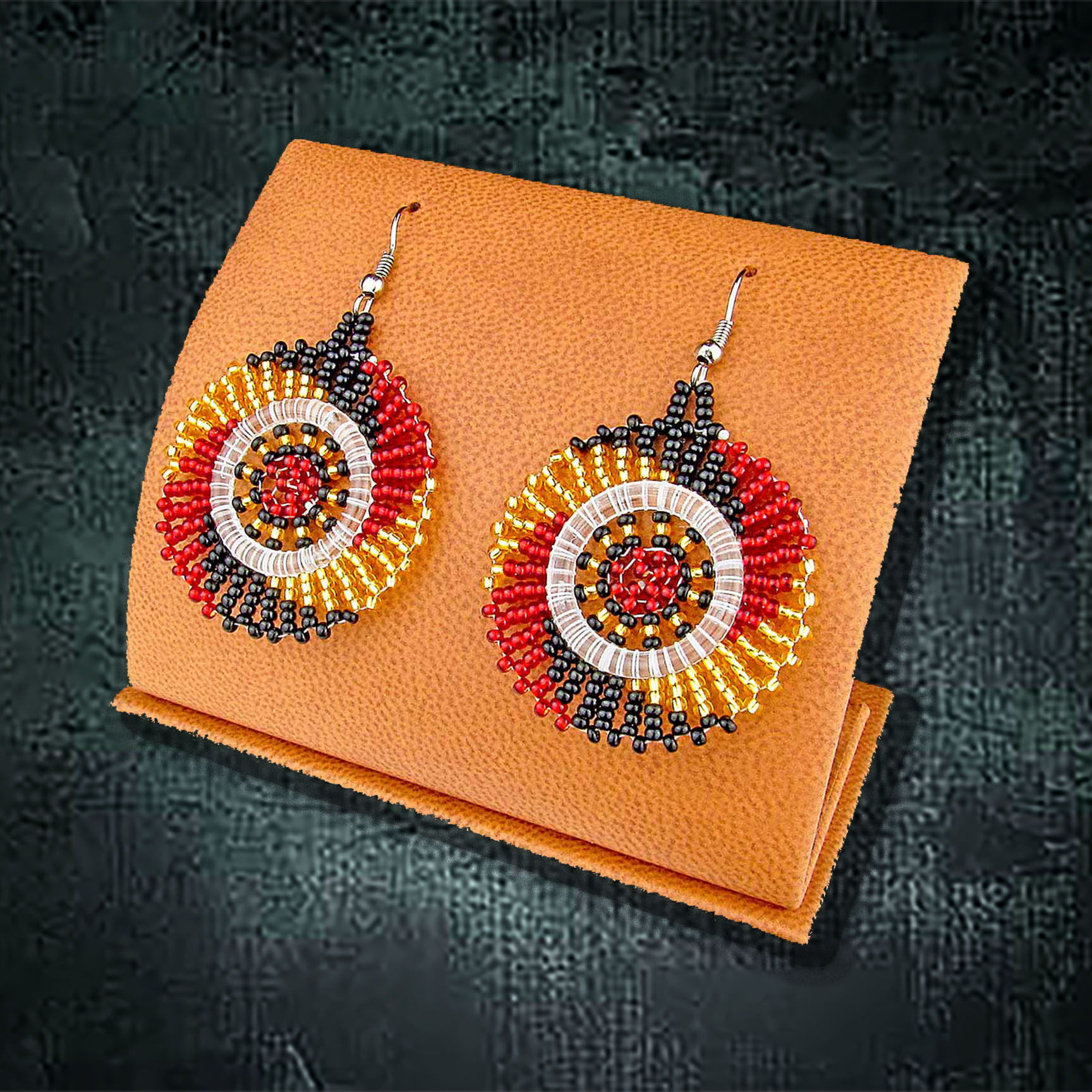 African Beaded Earrings, Circle Small