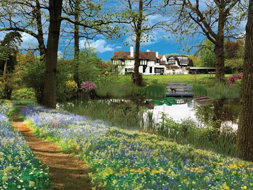 CGI design by Wondeful Gardens showing a woodland walk by a pond