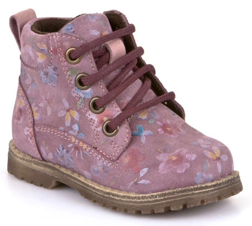 Sturdy girls lace up boots in pink floral