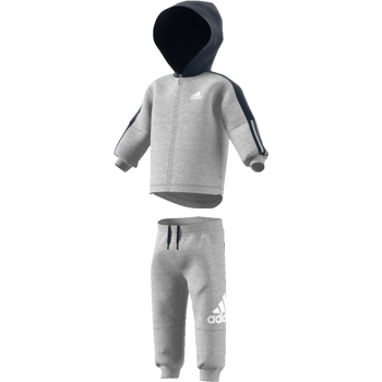 Adidas 3S Hooded Track Suit  Grey-Navy-White