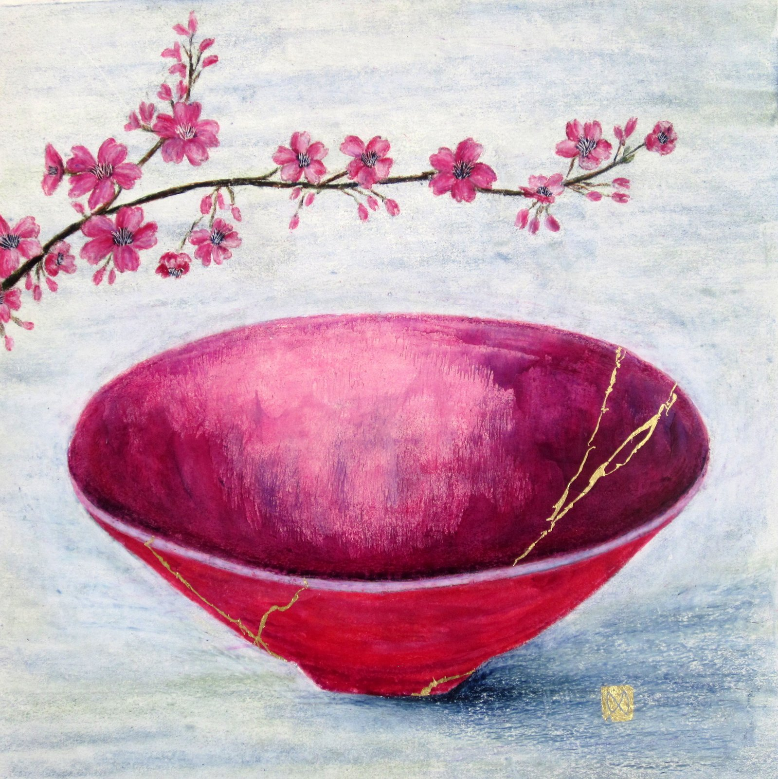 Contemporary painting of a pink majenta kintsugi bowl with cherry blossoms and  gold repair.
