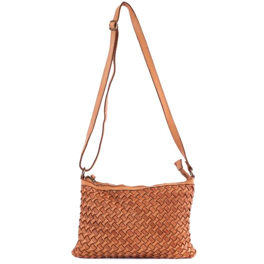 Portobello Tan Real Italian Woven Leather Cross Body Bag