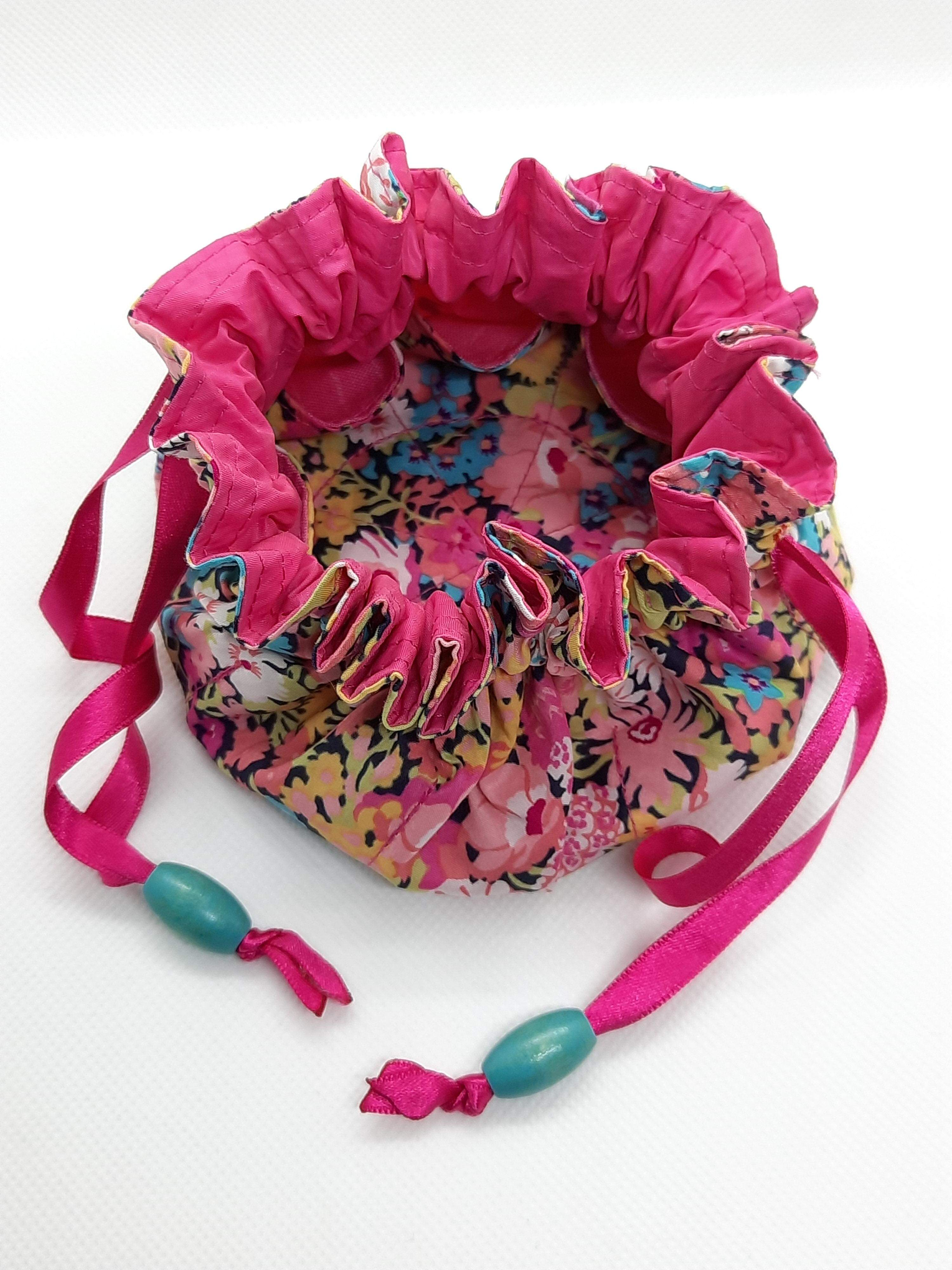 Jewellery Pouch - pink lining, pink ribbon, jade bead