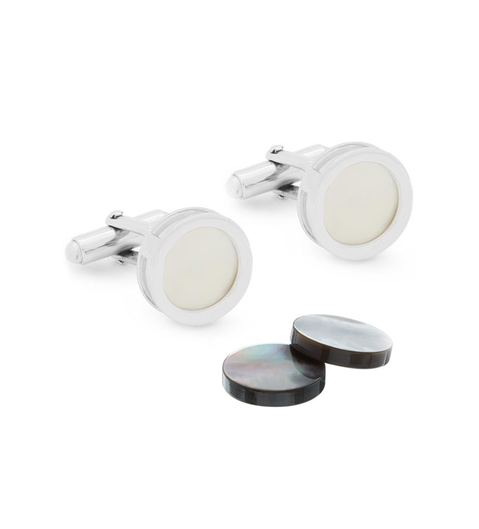 Cufflink by Lanvin, Silver, Mother of Pearl & Onyx