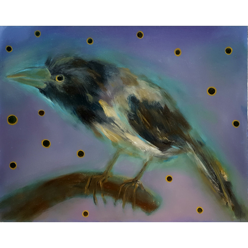 Magpie in a twilight-eyed sky. 50x65, oil
