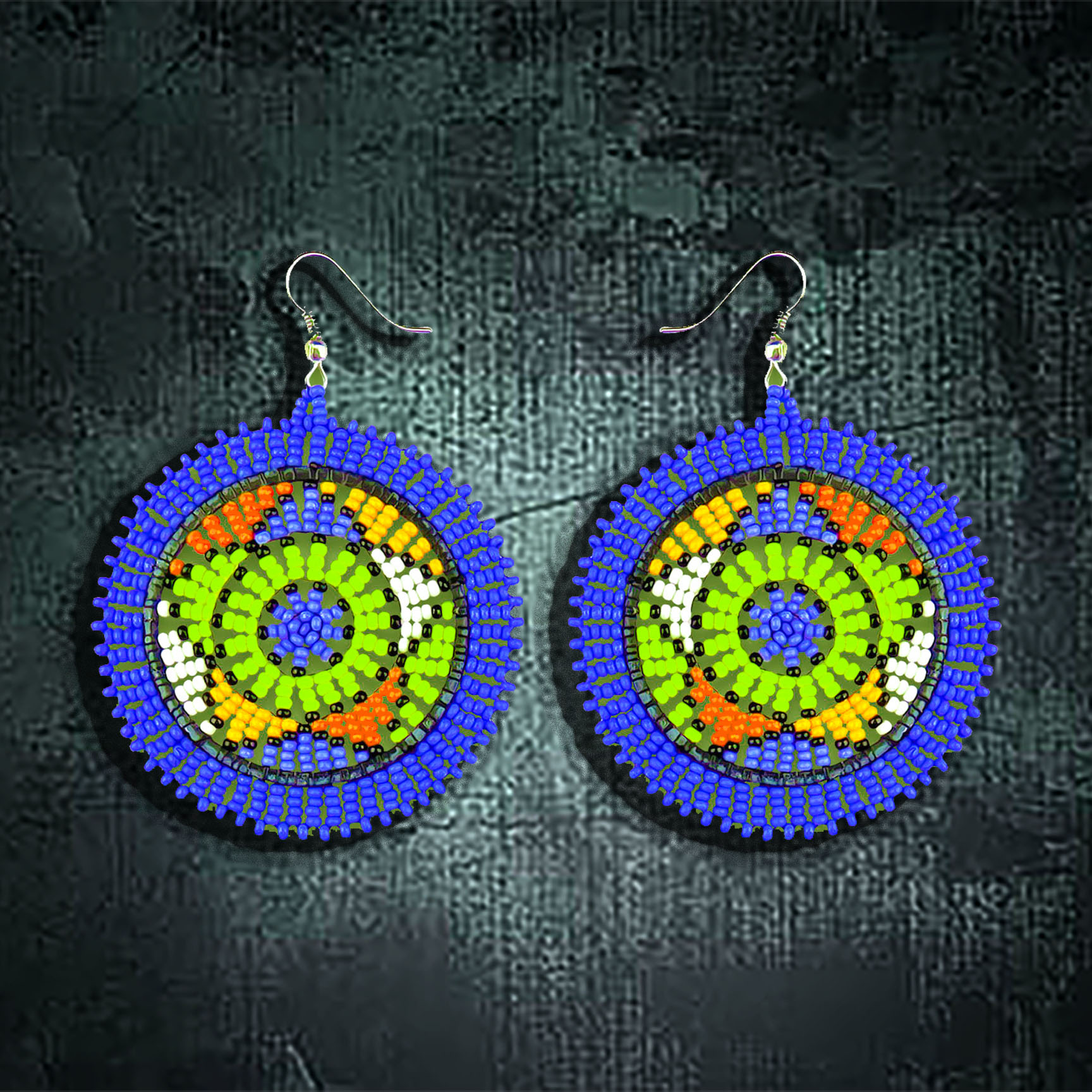 African Beaded Earrings, Circle Large