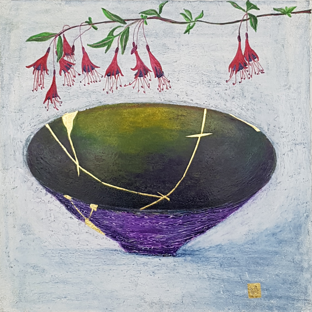 Contemporary painting of a purple green kintsugi bowl with fuchsia flowers and  gold repair.