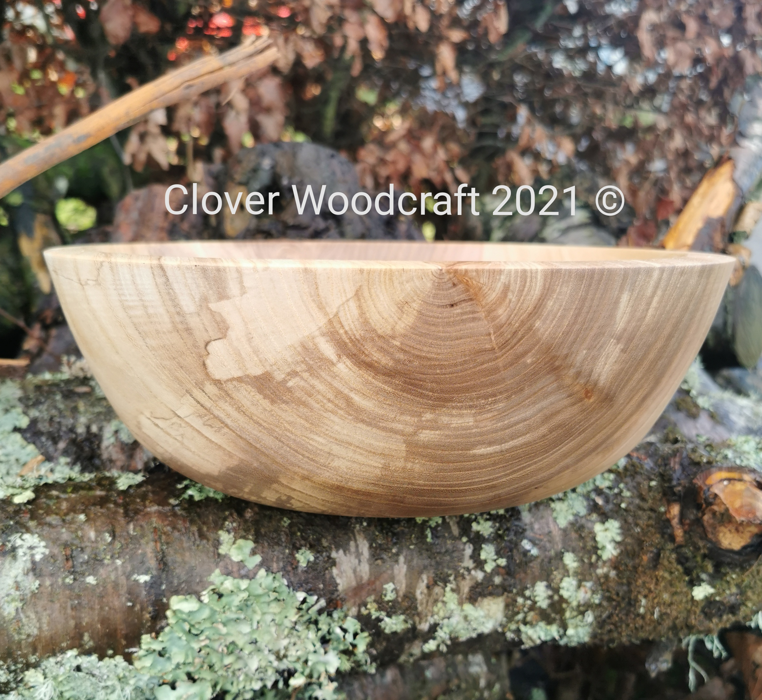 Irish Spalted Elm Large Wood Turned Salad Bowl