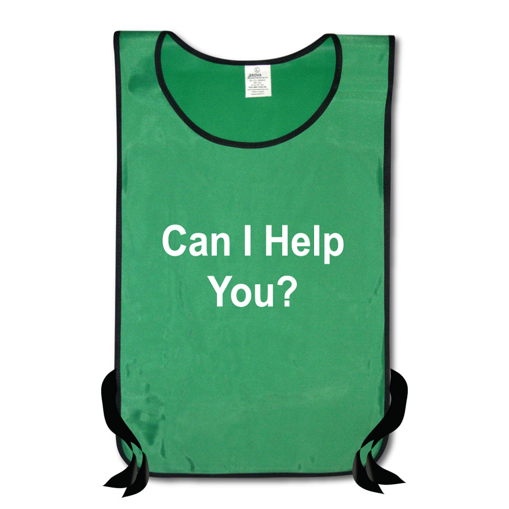Nylon Tabards Printed Can I Help You?