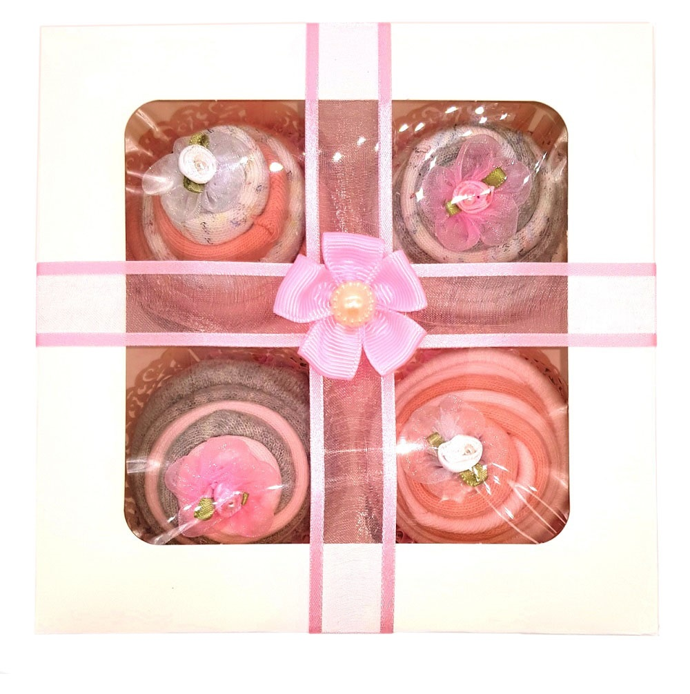 Women's Sock Cupcakes - Pink Ribbon Gift Box