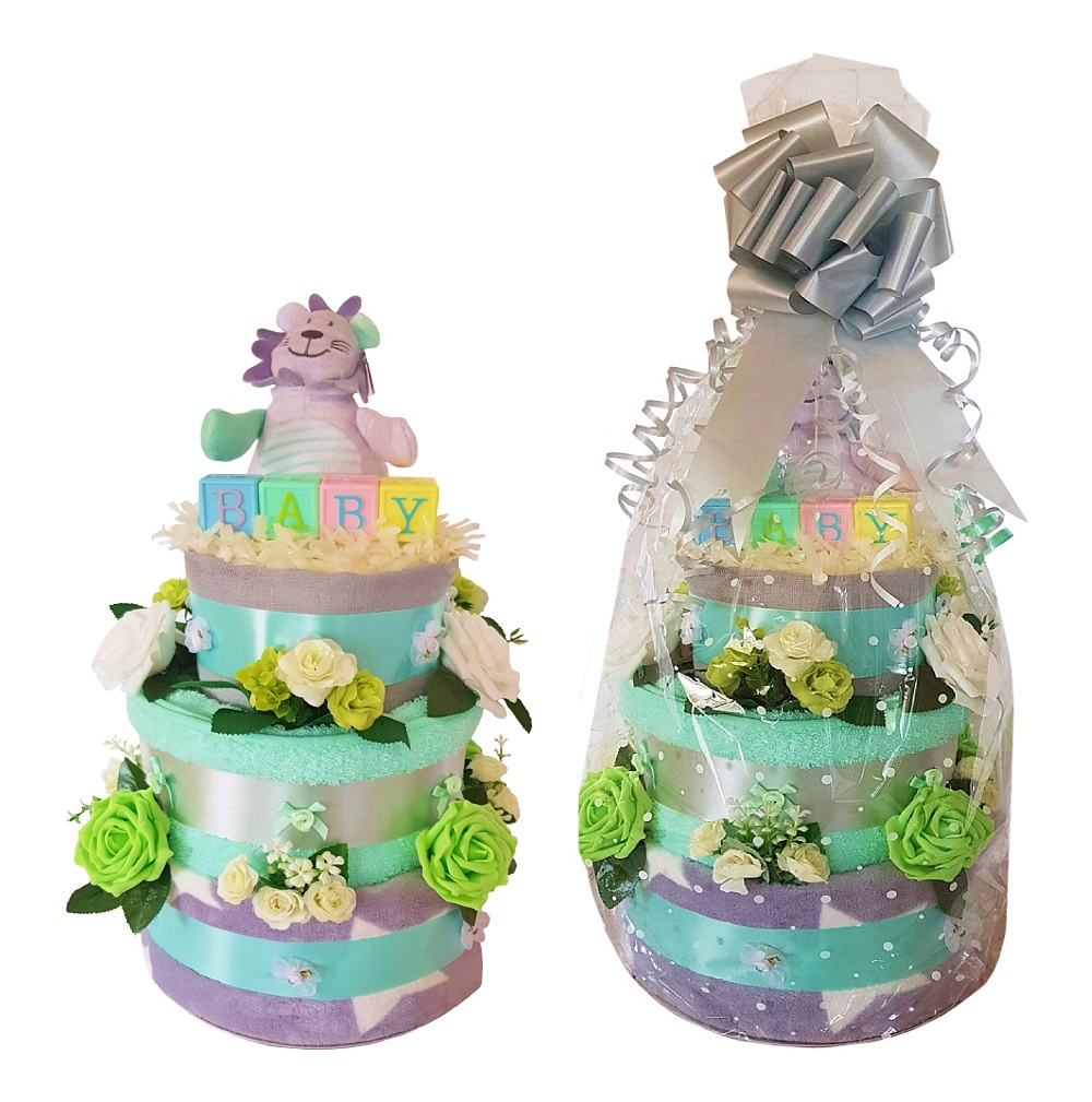 Beautiful Mint & Grey Nappy Cake for a Girl or Boy