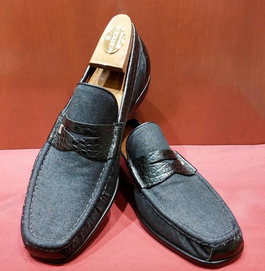 Loafer Model 413 Black Denim & Printed Leather