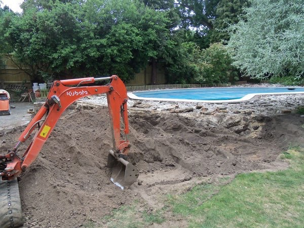 Work on new pool surround and patio in Weybridge, Surrey
