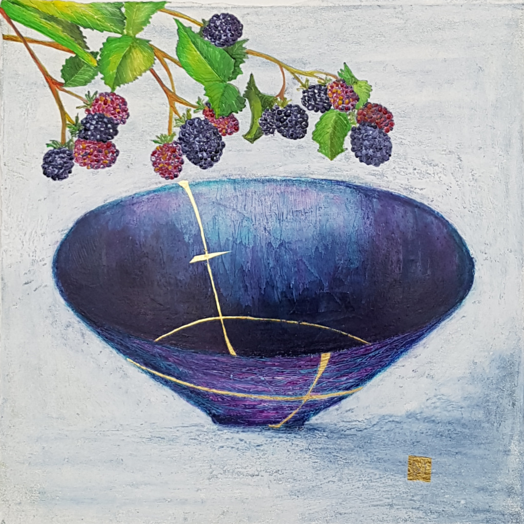 Contemporary painting of a purple blue kintsugi bowl with blackberries and  gold repair.