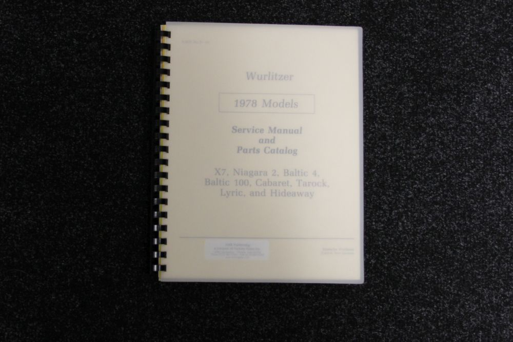Wurlitzer Service Manual and Parts Catalog 1978 models