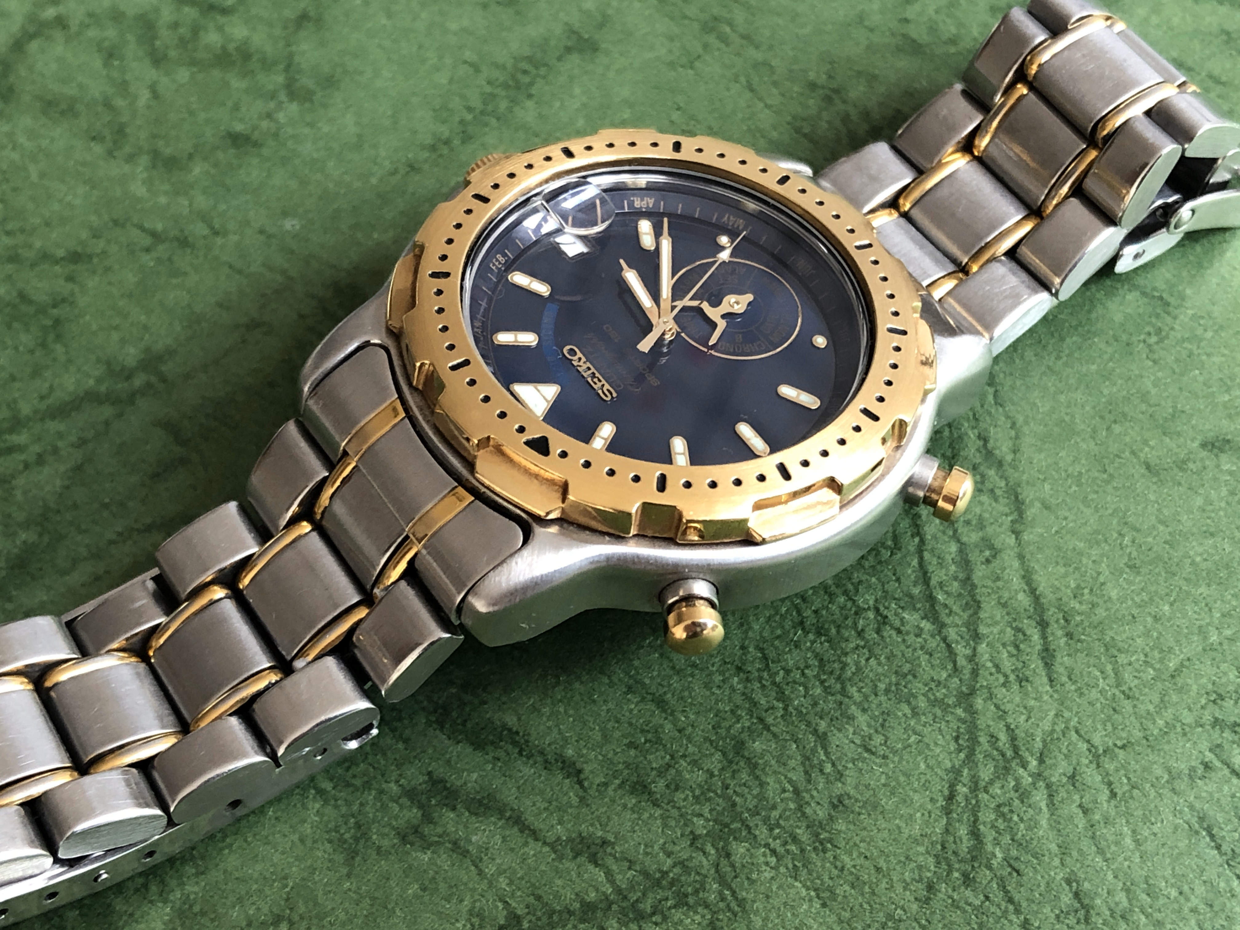 "Seiko 6M25-6000 ""Dancing Hands"" Gold bezel (Sold)"