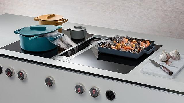 Designer hobs with extraction