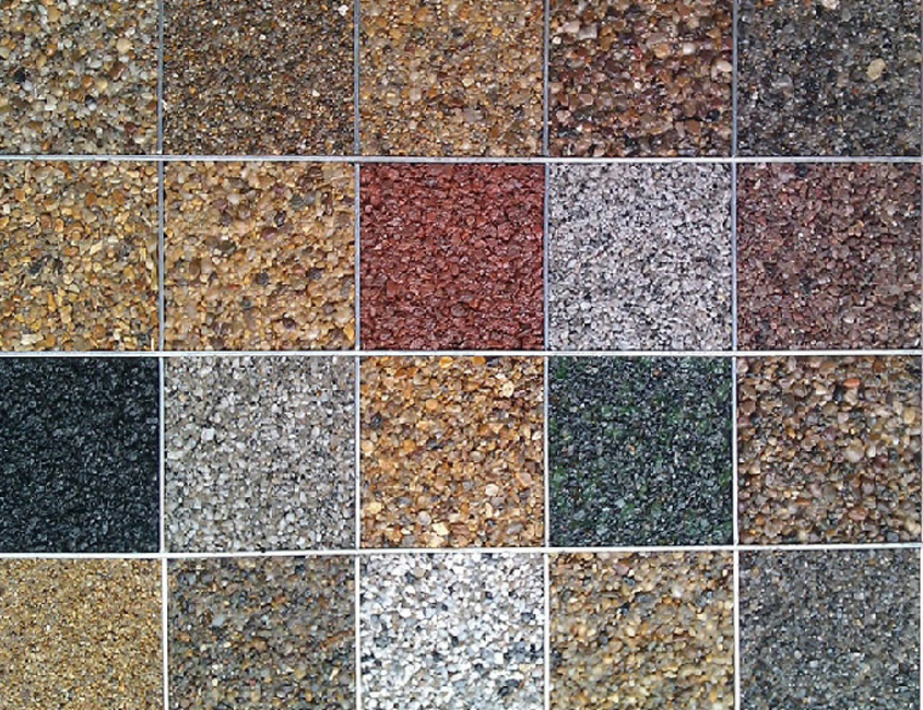 Colour options chart for resin bound surfacing