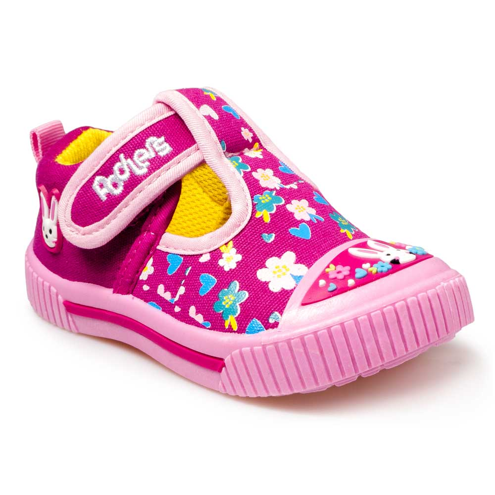 Hot pink canvas sneakers for little girls
