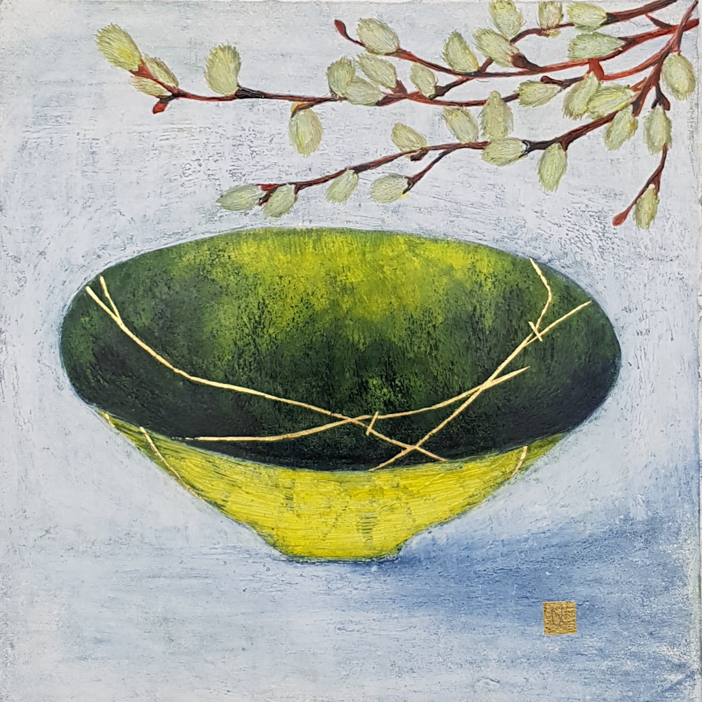 Painting of a yellow green kintsugi bowl with willow catkins and gold repair.
