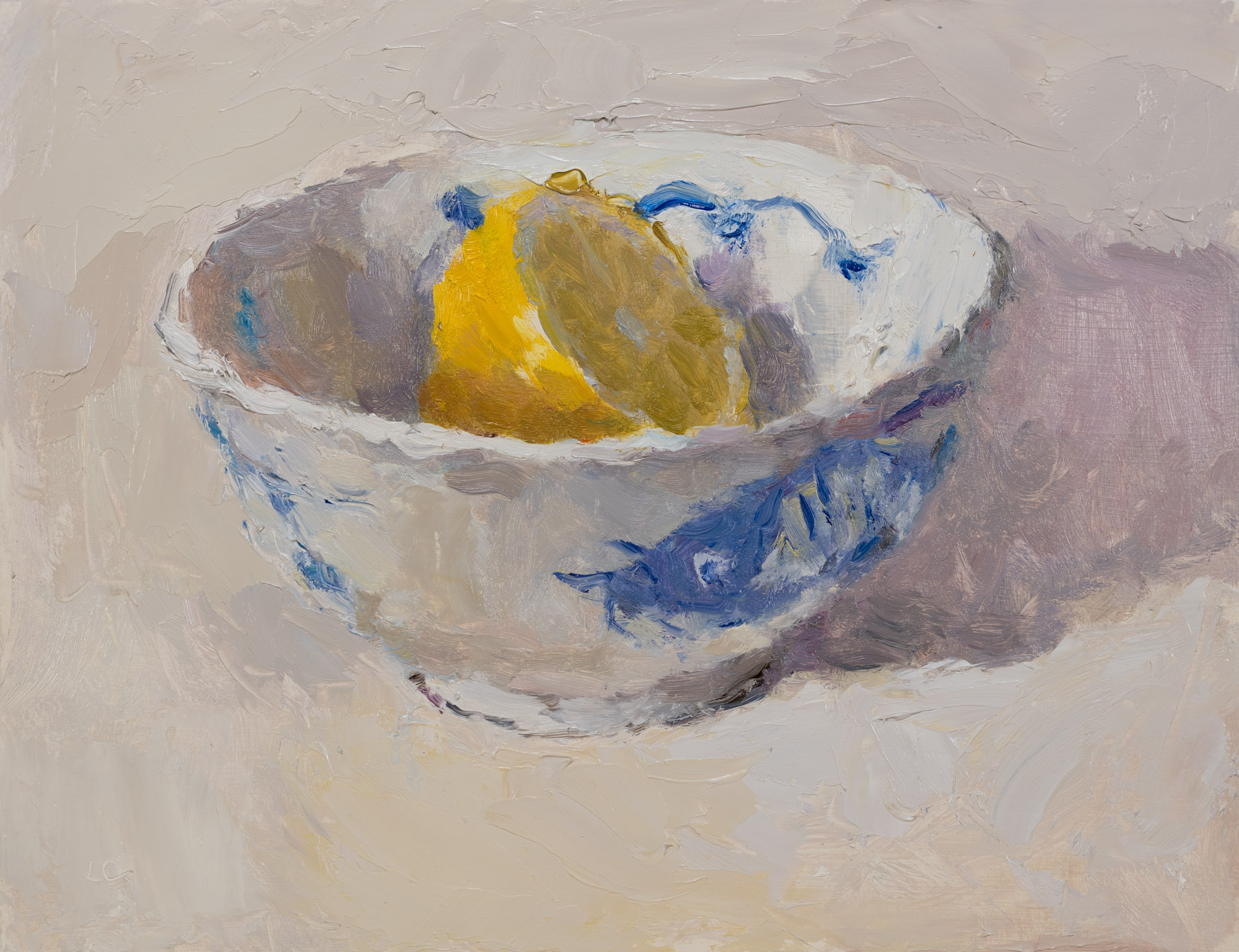 Lemon Half in a Chinese Bowl 4, Oil on Board, 18.6cm x 24.5cm (2019-45)  SOLD