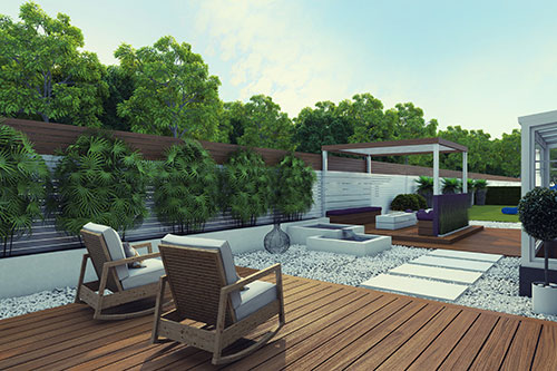 modern garden design with mixed textures: decking for the seating area and gravel with modern stone pathways