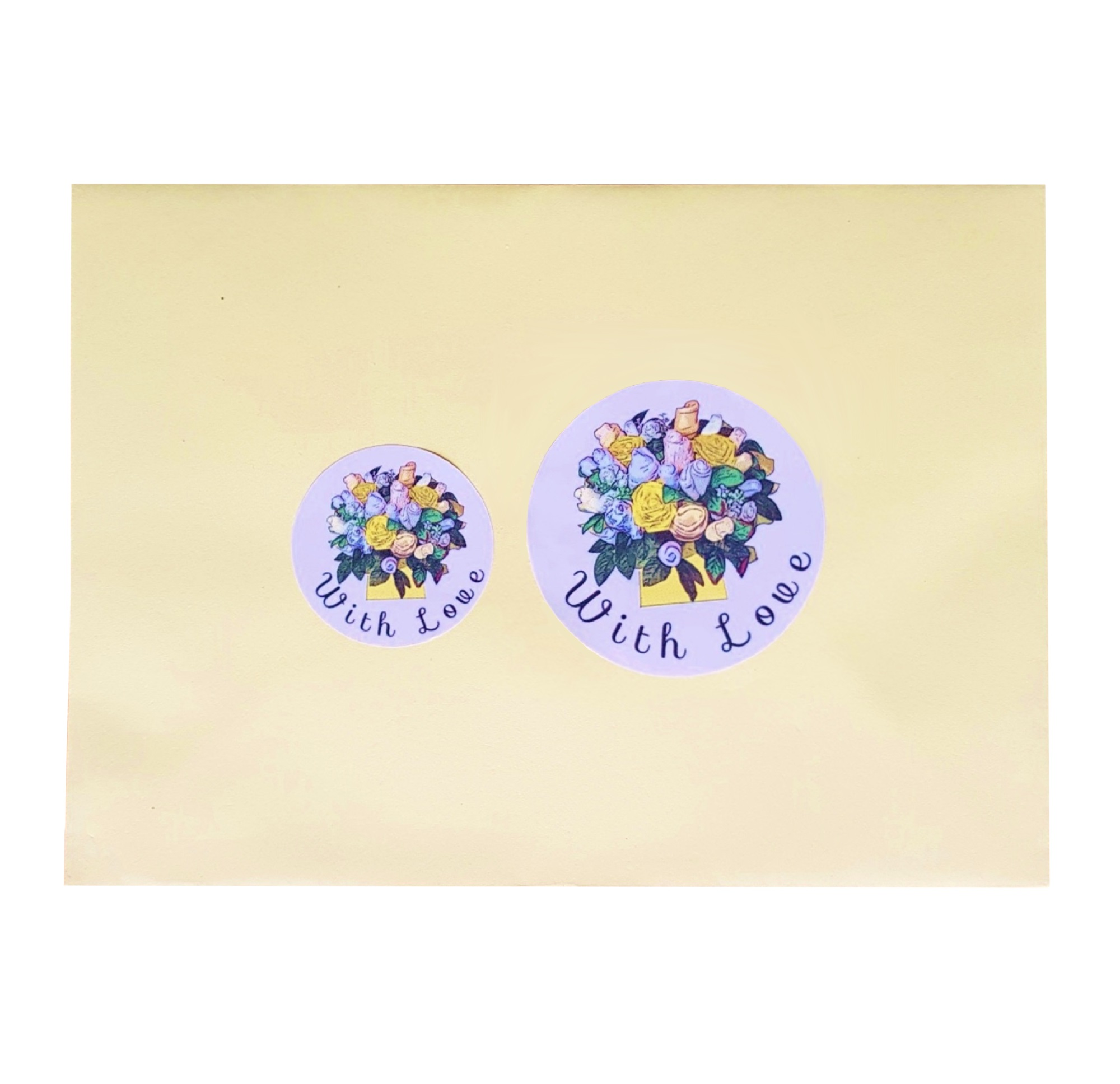 """With Love"" Stickers - Yellow Floral Bouquet"
