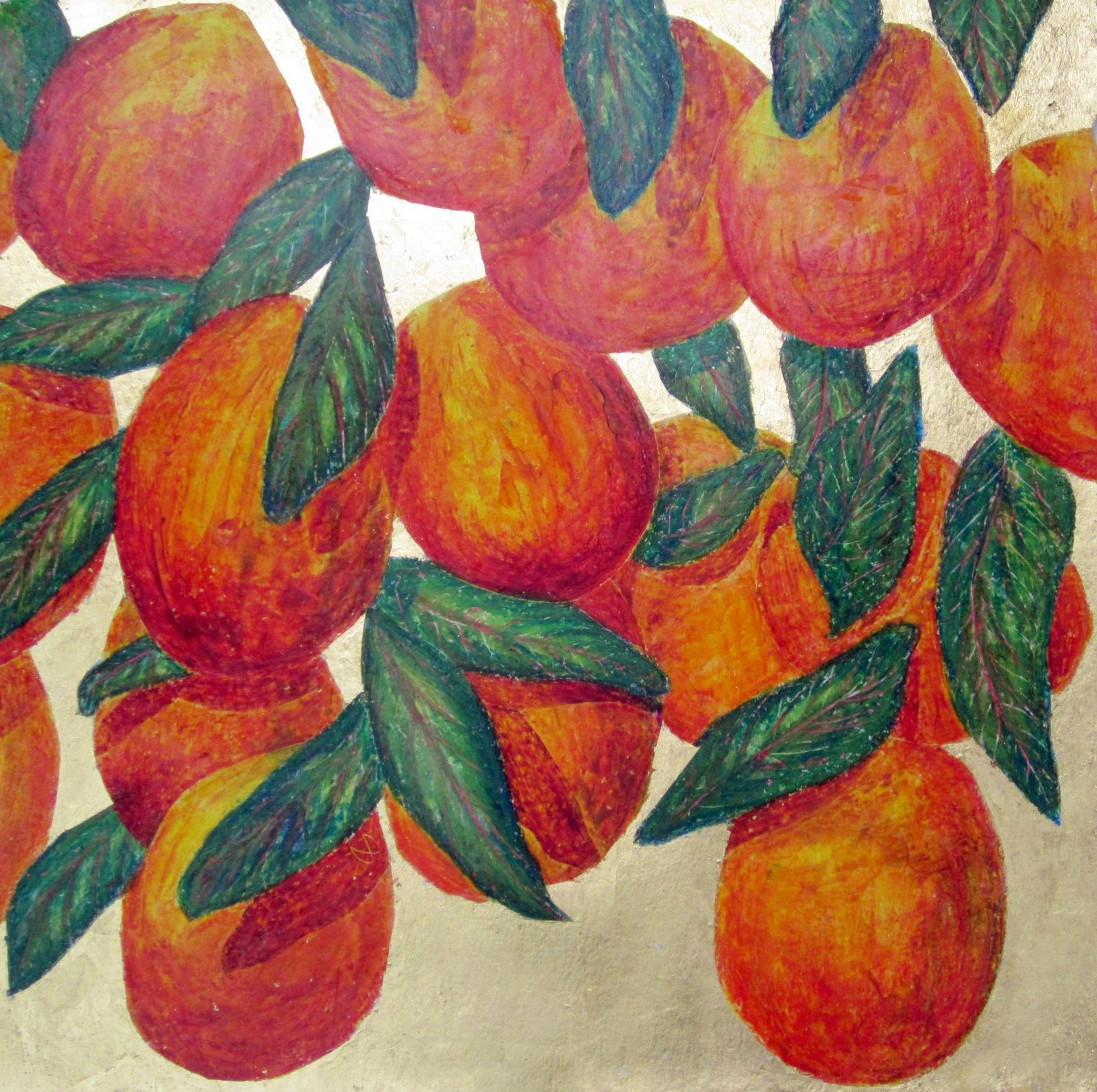 Vibrant painting of a Mango tree with juicy ripe fruit on gold leaf