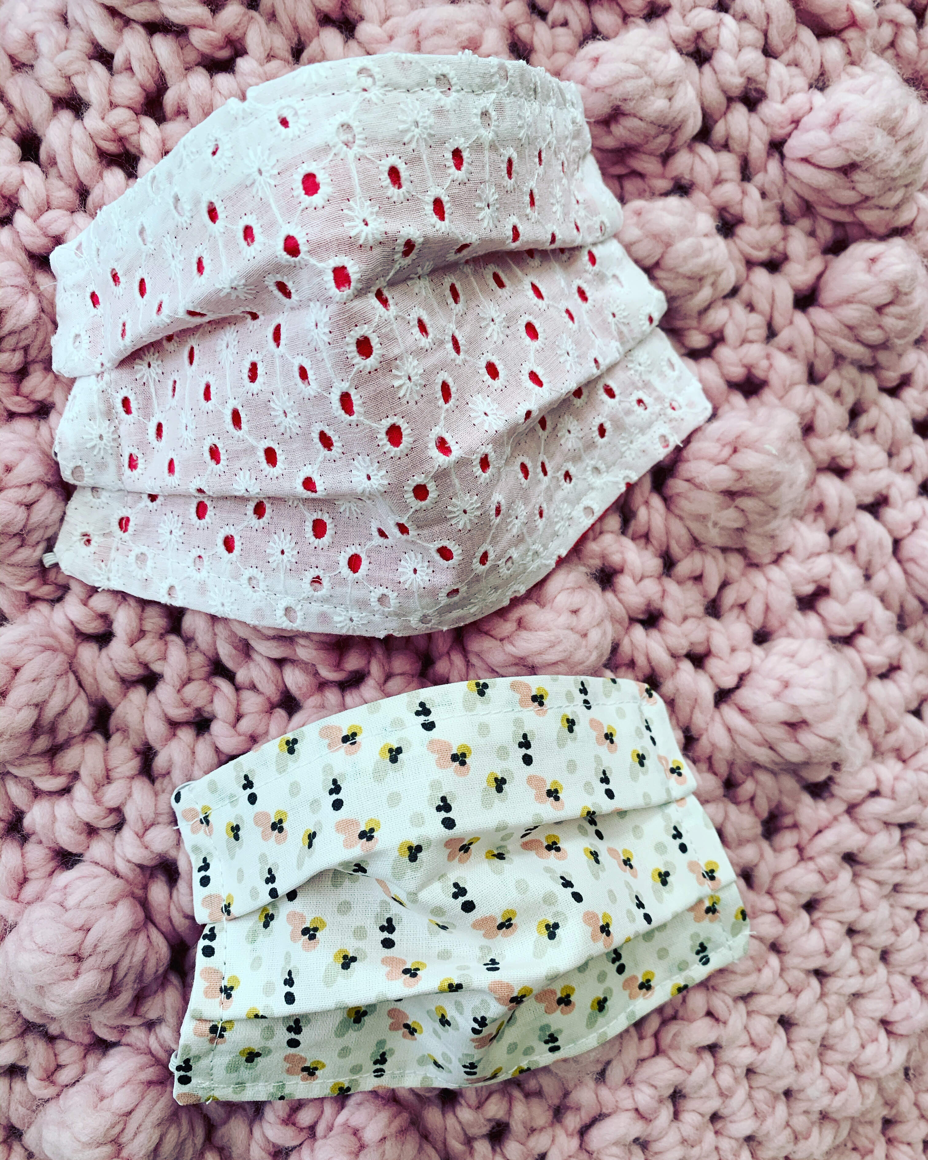 Face covering broderie and dotty rose