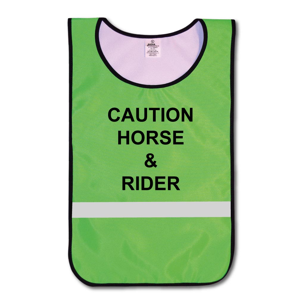 KT0007Hi Vis Green Caution Horse & Rider tabard with reflective strips.