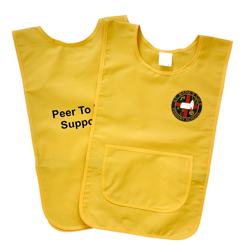 Polycotton Tabard With Pocket. Printed With Schools Logo