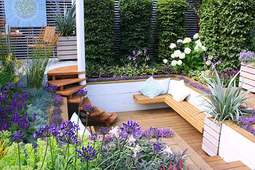 Funky purple and decked garden