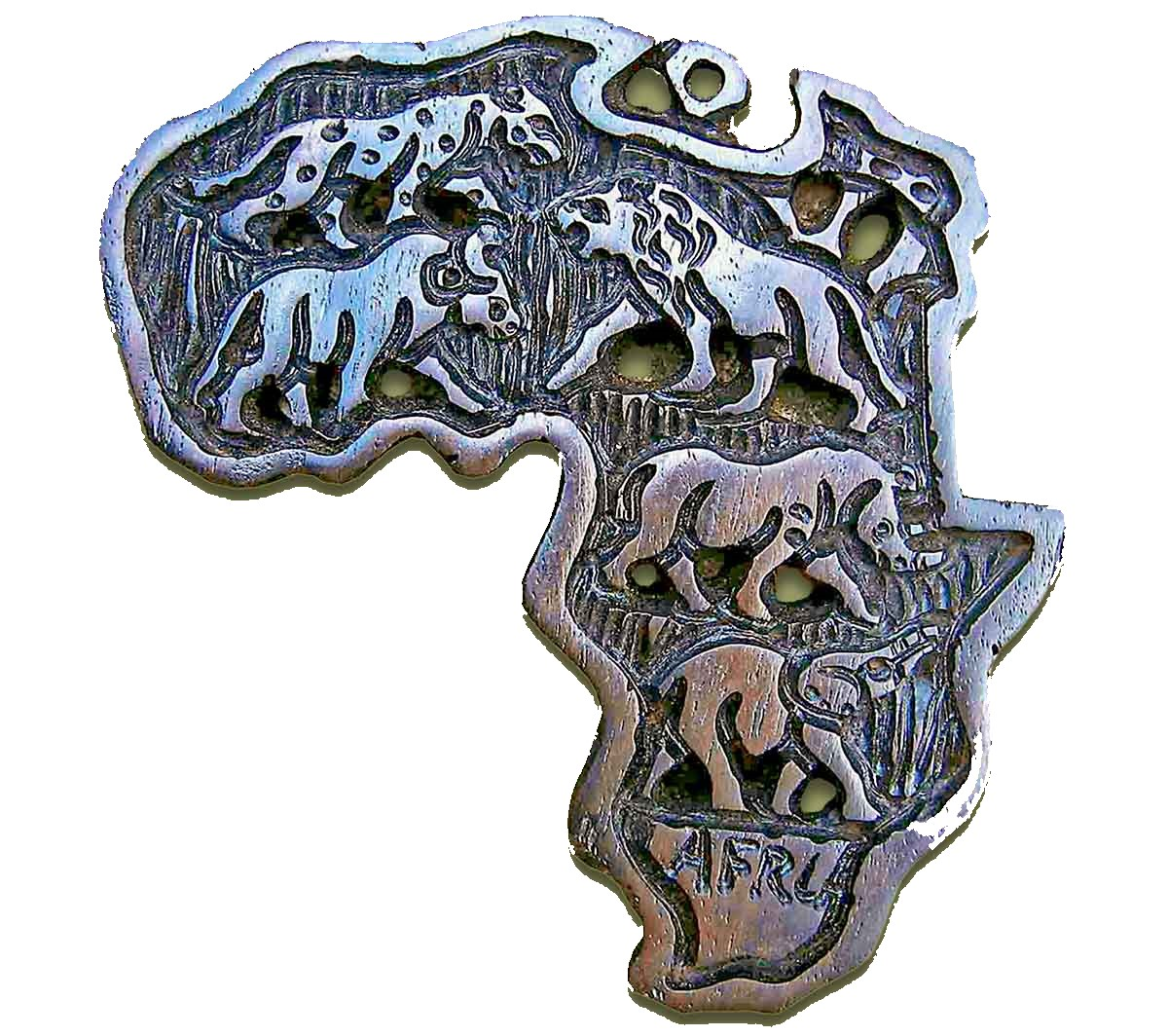 Hand Carved Africa Map Ebony Wood