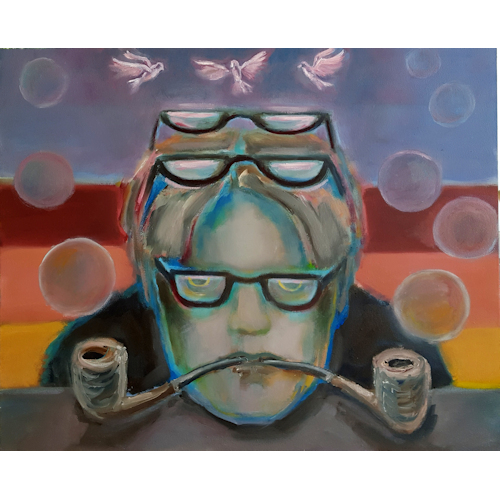 Anonymus with 3 glasses, two pipes, 8 bubbles and 3 pink pigeons. 50x65; oil