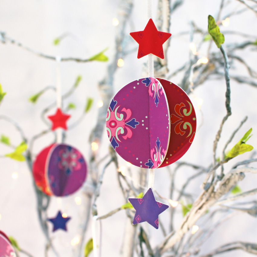 SORRY SOLD OUT - Baubles - Red/Purple Decorations (set of 3)