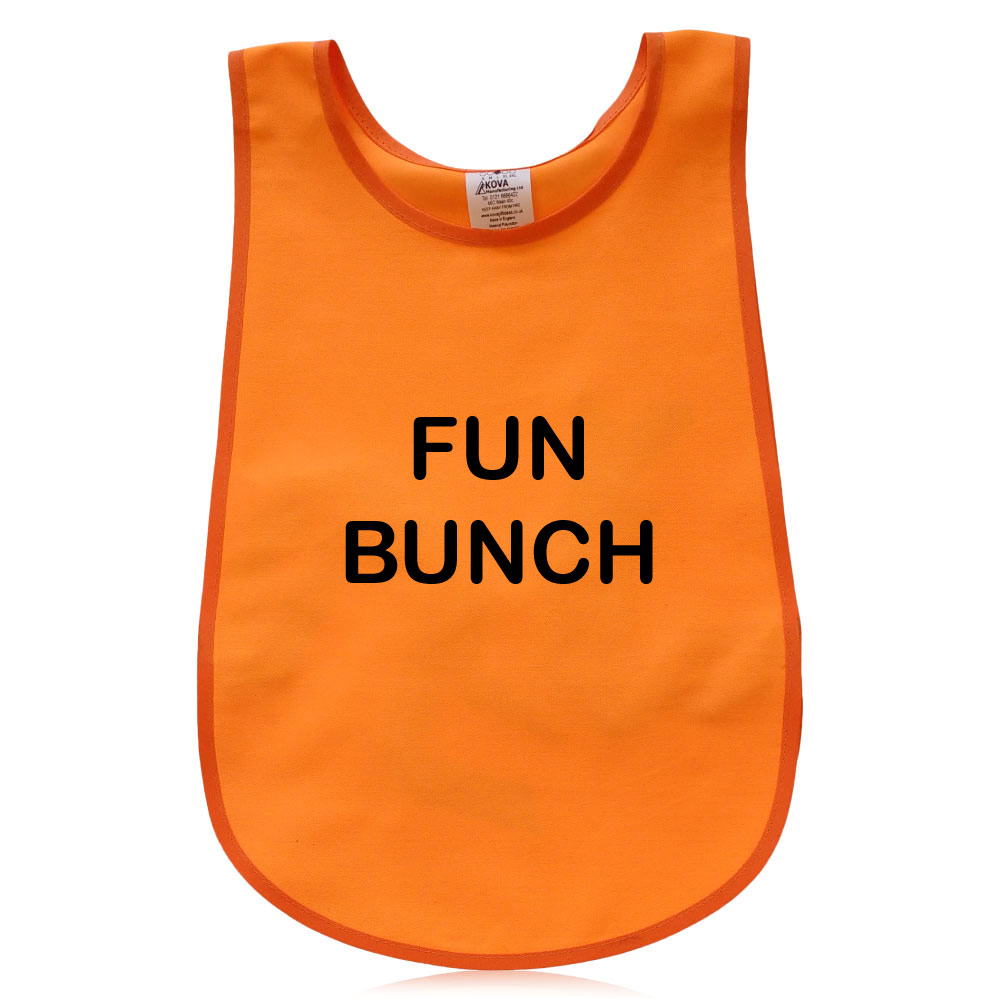 Orange Bell Shape Child's Tabard. Printed Fun Bunch