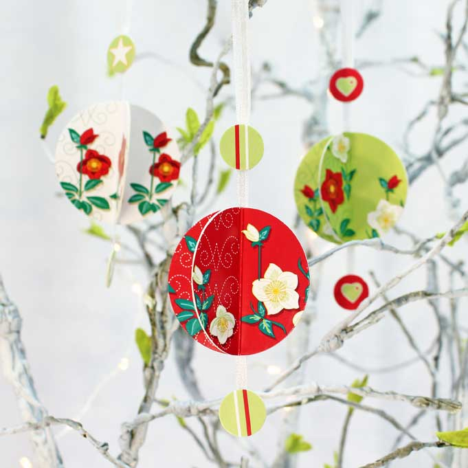 Folded Baubles in a Floral design (set of 3)