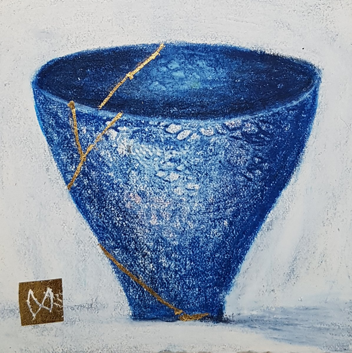 painting of Japanese kintsugi tea bowl with gold by Irish artist blue