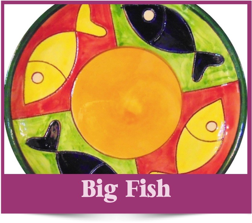 Big Fish design of Spanish Ceramics from Brambles Deli Kirkcudbright