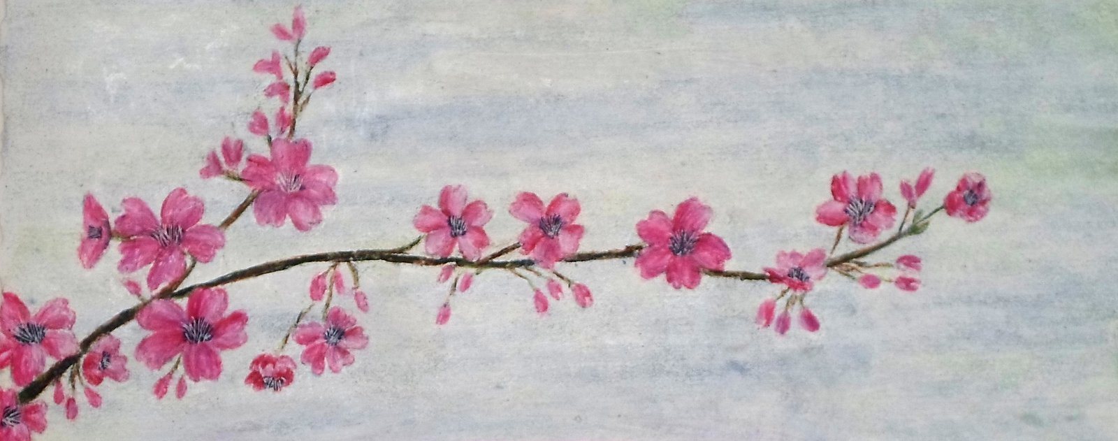 Cherry Blossoms - detail from Berries, Blossoms, Branches painting by contemporary Irish artist Mary Wallace