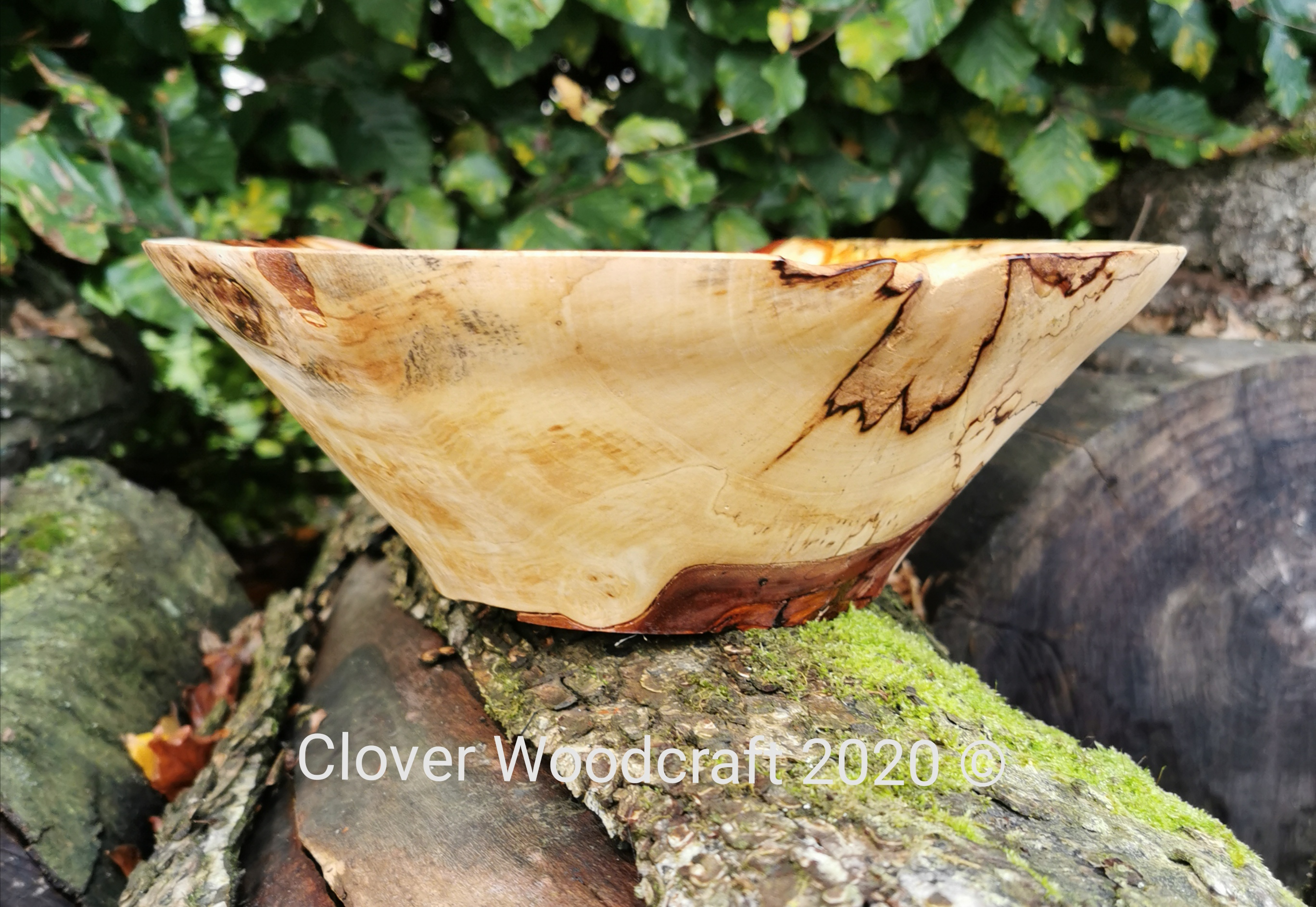 Large Spalted Burl Horse Chestnut Wood Turned Bowl Featuring Bark Inclusions.