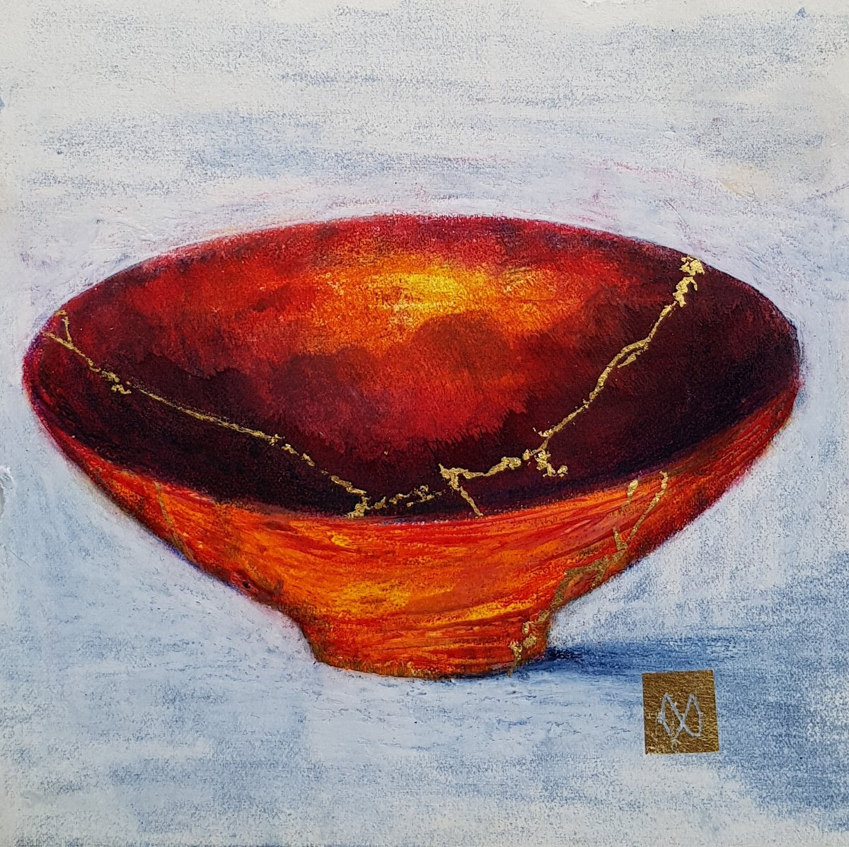 painting of Japanese kintsugi Summer tea bowl with gold by Irish artist orange red