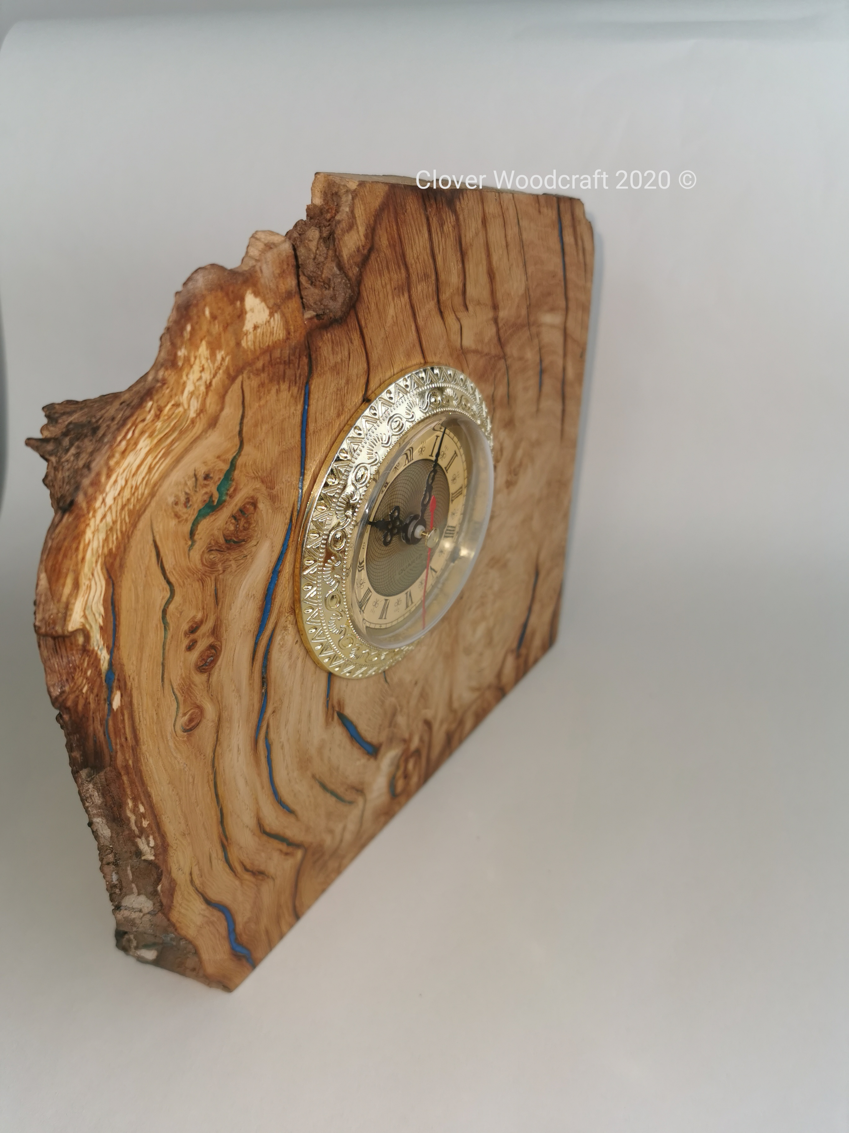 Irish Burl Oak Mantel Clock