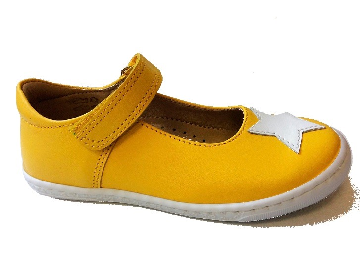 Mustard yellow Mary Jane style shoes with white star applique