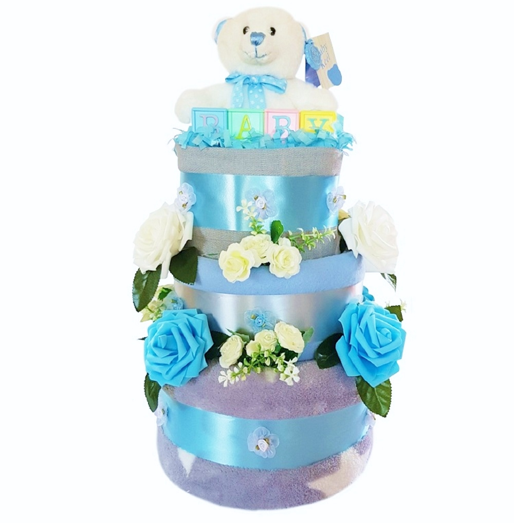 Beautiful Blue & Grey Nappy Cake for a Boy