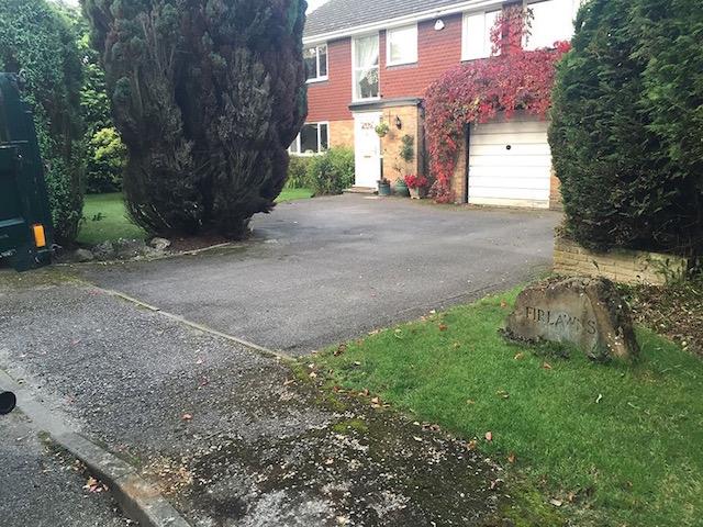 Old driveway in Bisley Surrey before replacement by Block Paving Surrey