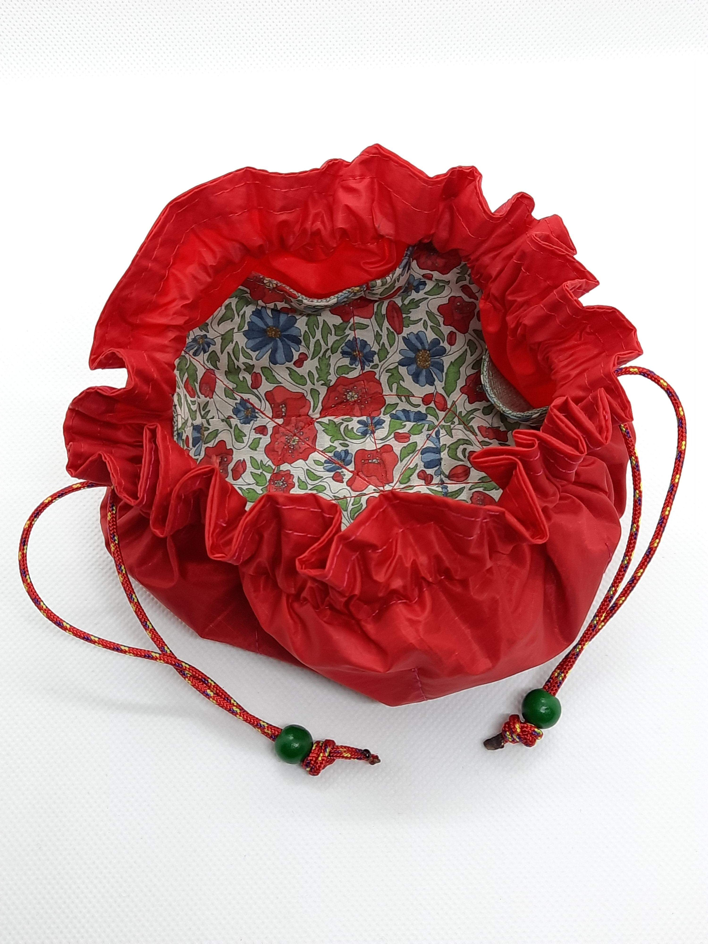 Jewellery Pouch from spinnaker cloth, red rope, green bead